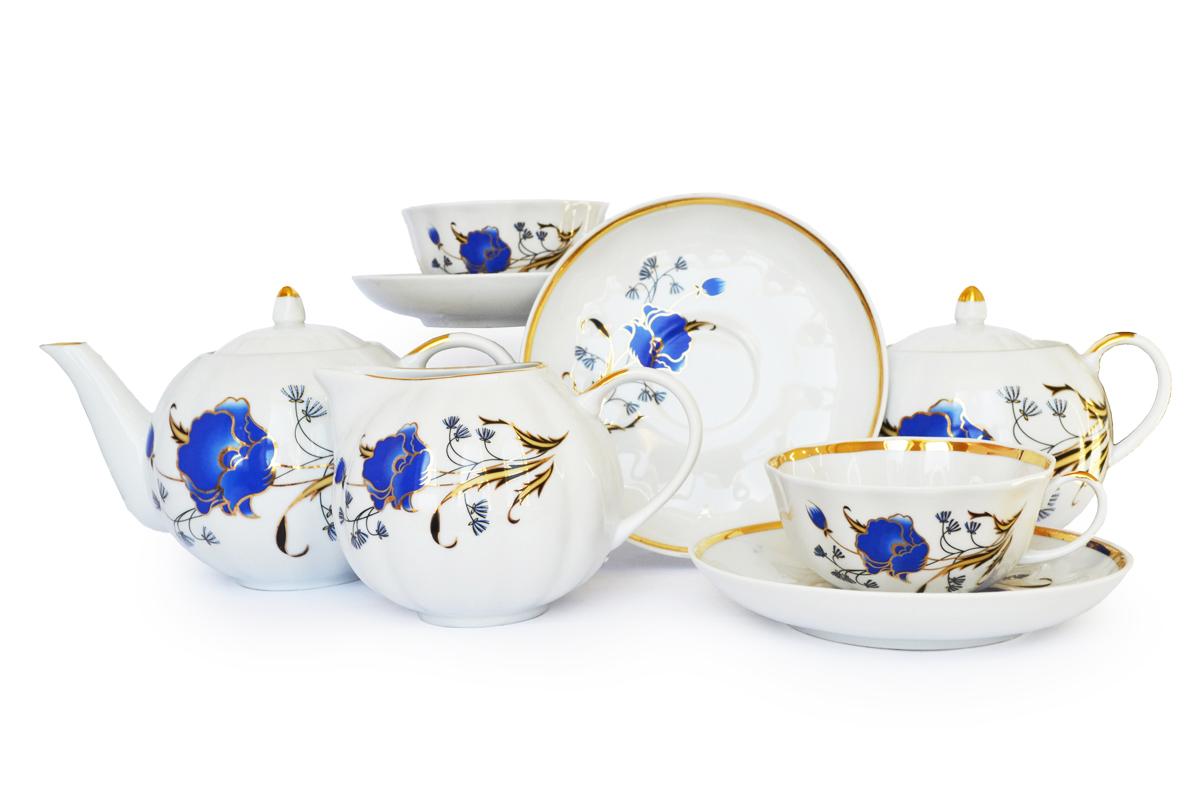 Фото Сервиз чайный Дулево Тюльпан Синий мак, 15 предметов