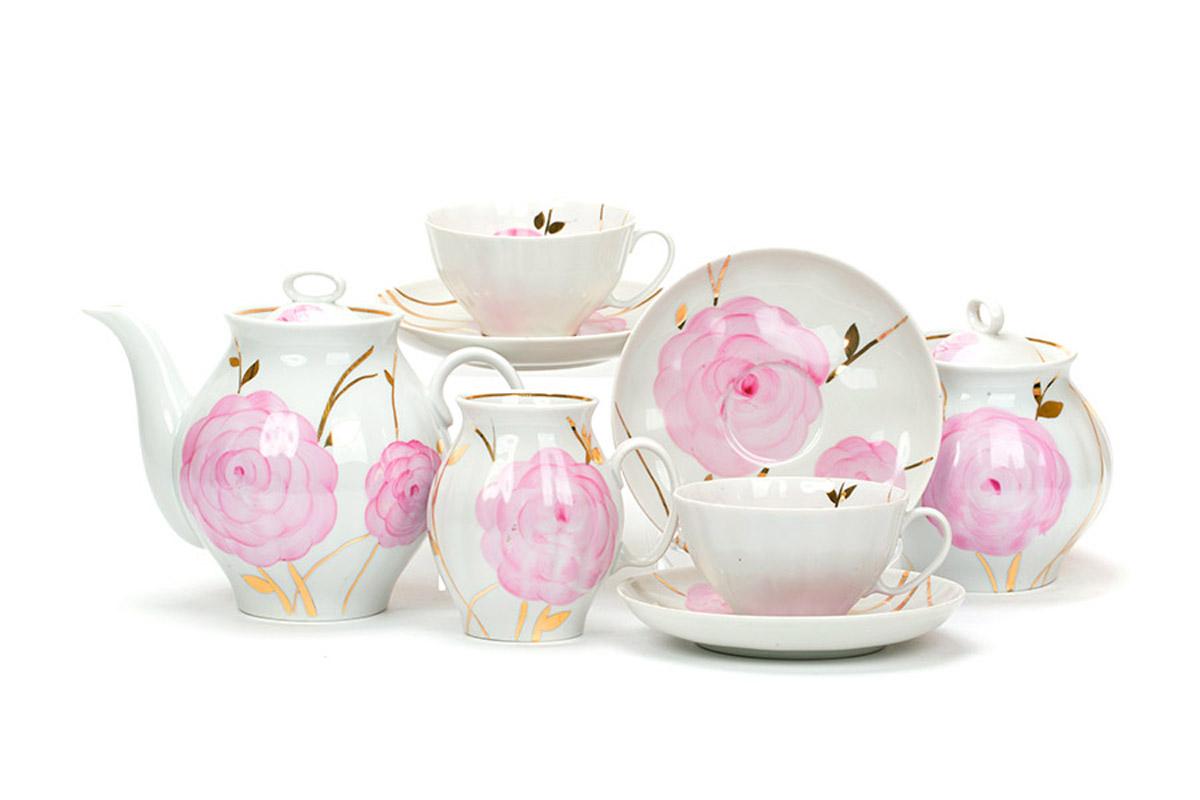Фото Сервиз чайный Дулево Белый лебедь Весенний, 15 предметов