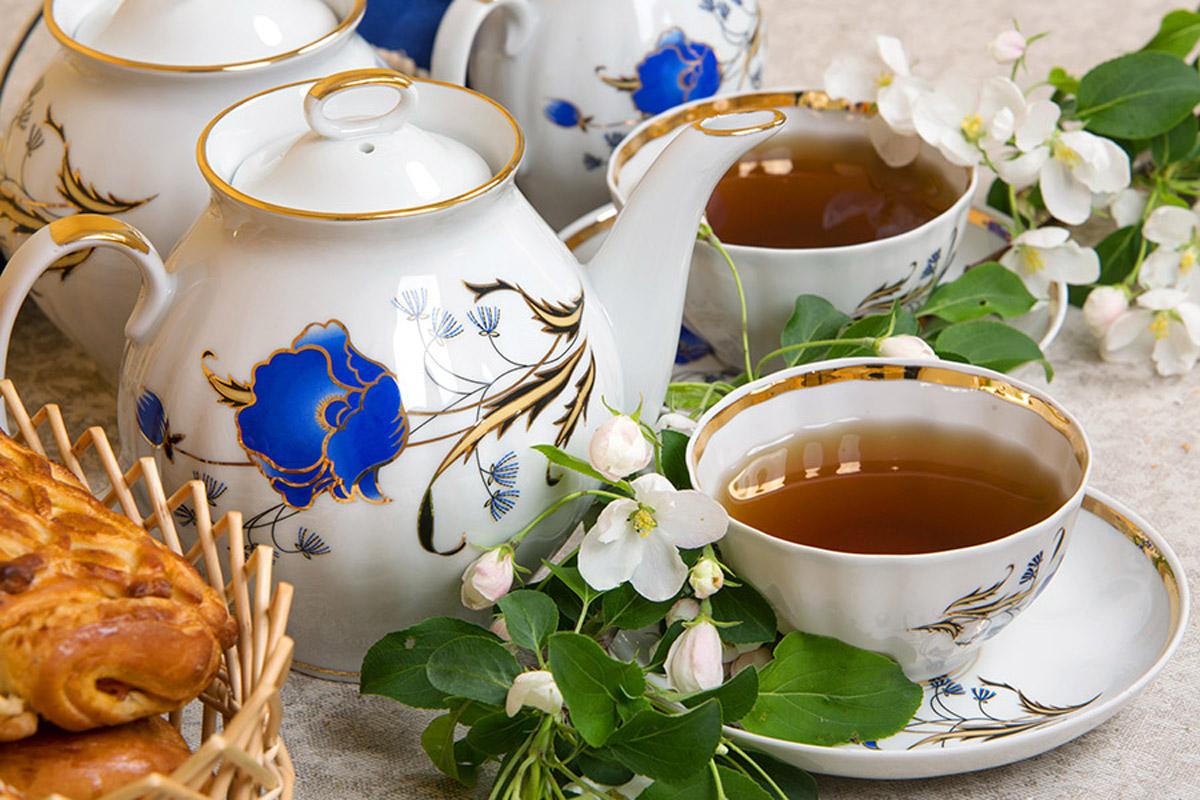 Фото Сервиз чайный Дулево Белый лебедь Синий Мак, 15 предметов 2с