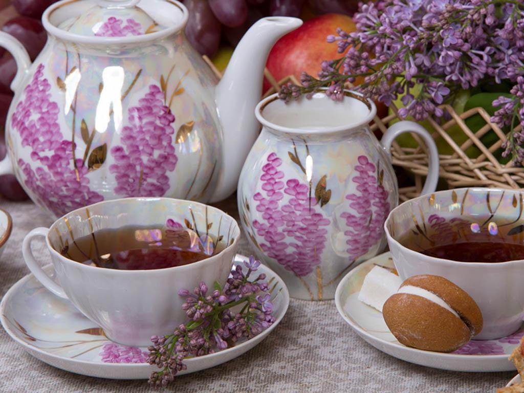 Фото Сервиз чайный Дулево Белый лебедь Розовая сирень, 15 предметов