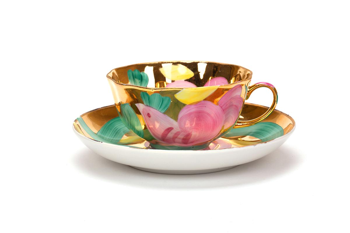 Фото Сервиз чайный Дулево Тюльпан Розовая птица, 15 предметов