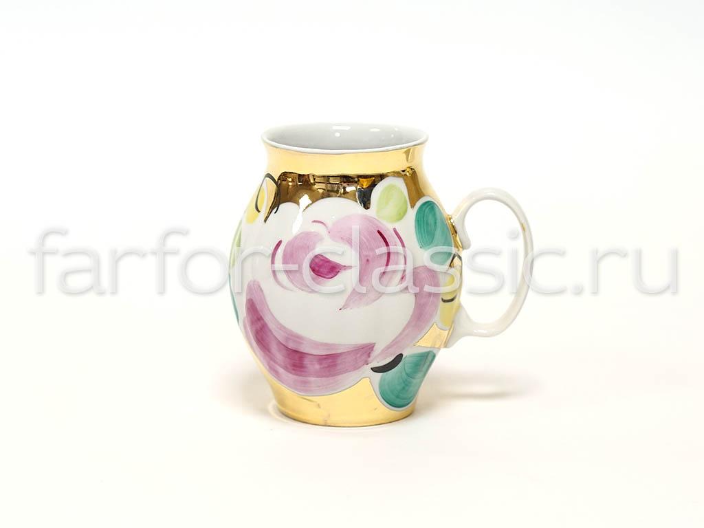 Фото Сервиз чайный Дулево Белый лебедь Золотой букет, 15 предметов
