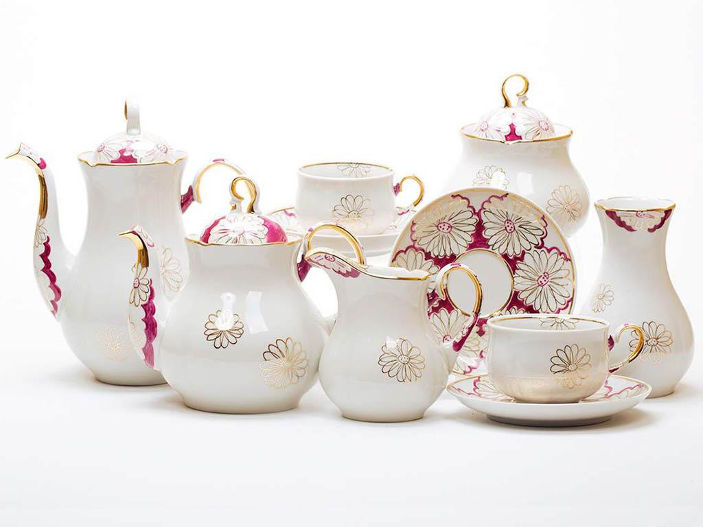Фото Сервиз чайно-кофейный Дулево Аппетитный Ромашки нежные, 29 предметов