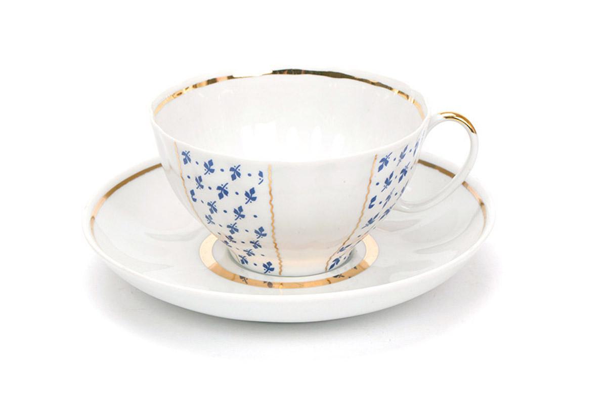 Фото Сервиз чайный Дулево Белый лебедь Ситец, 21 предмет