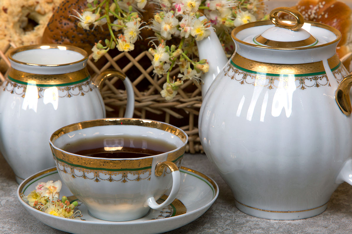 Фото Сервиз чайный Дулево Белый лебедь Ожерелье, 15 предметов