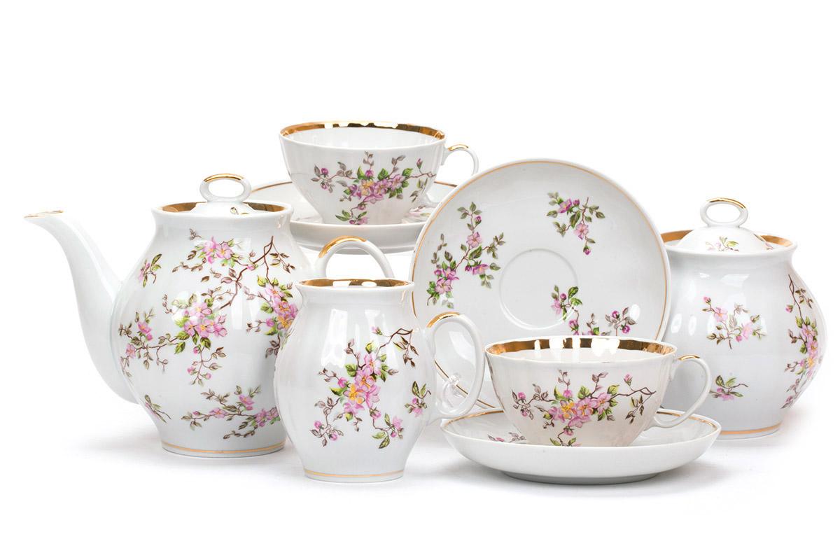 Фото Сервиз чайный Дулево Белый лебедь Цветение, 15 предметов
