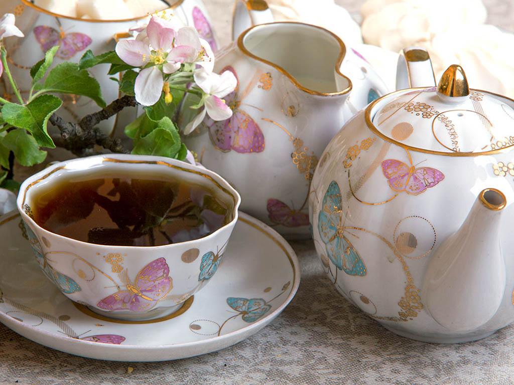Фото Сервиз чайный Дулево Тюльпан Летняя симфония, 21 предмет