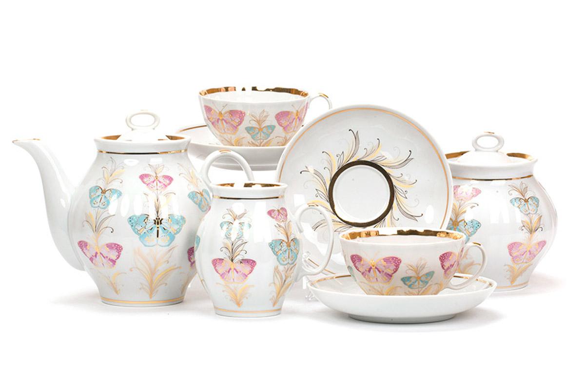 Фото Сервиз чайный Дулево Белый лебедь Фантазия, 15 предметов