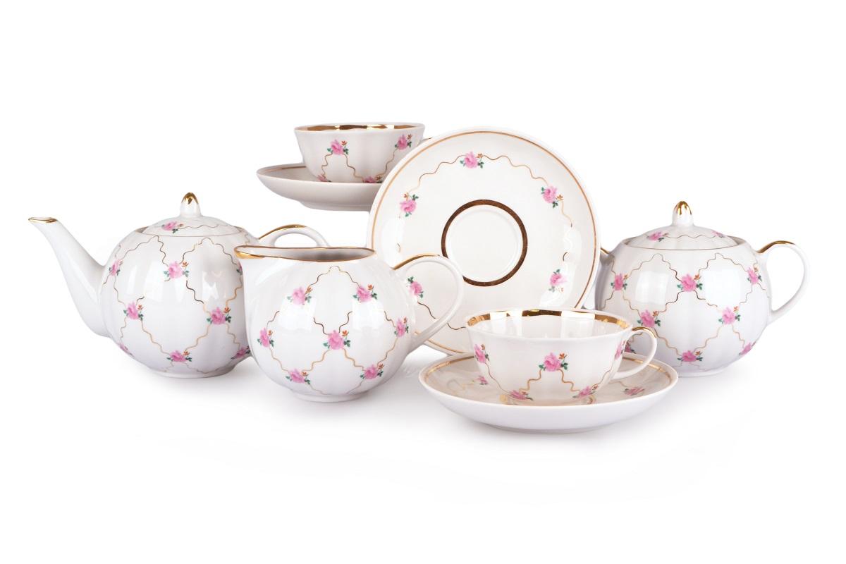 Фото Сервиз чайный Дулево Тюльпан Розовый мотив, 15 предметов