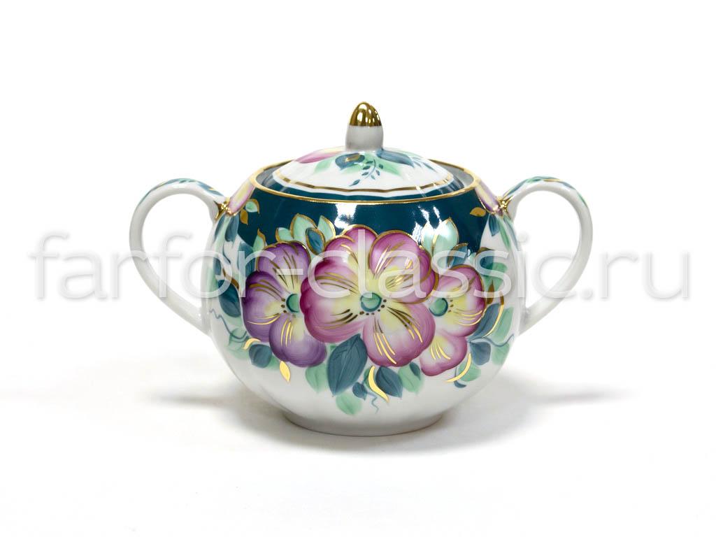Фото Сервиз чайный Дулево Тюльпан Анютины глазки, 15 предметов