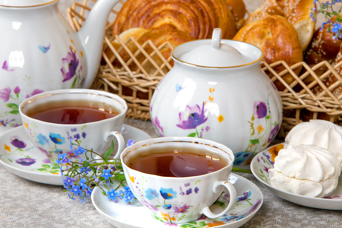 Фото Сервиз чайный Дулево Белый лебедь Акварелька, 14 предметов