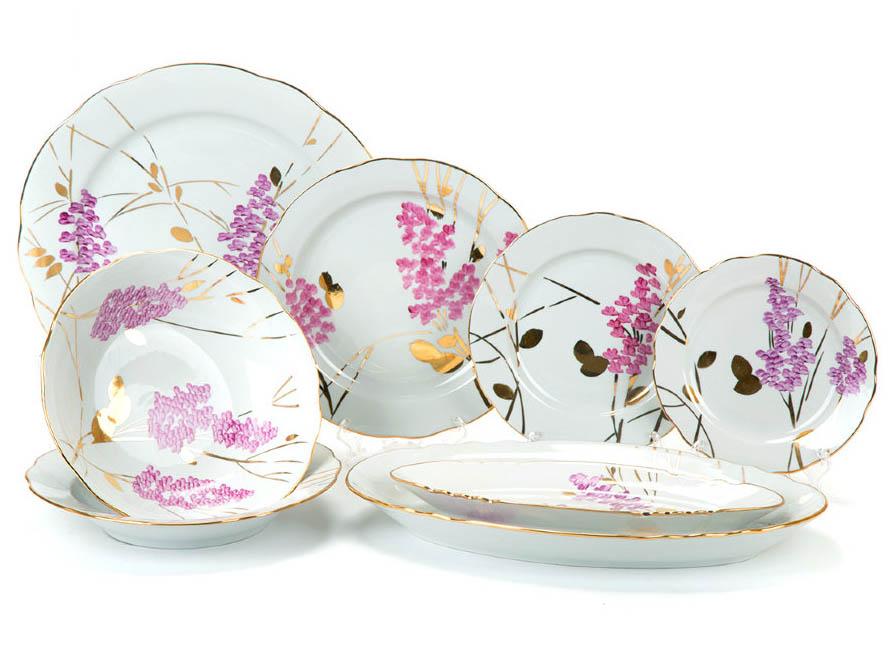 Фото Сервиз столовый Дулево Розовая ветка, без супницы, 29 предметов на 6 персон