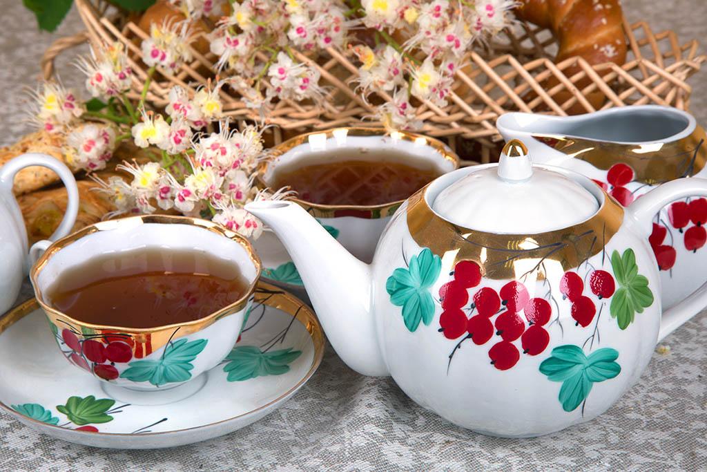 Фото Сервиз чайный Дулево Тюльпан Калинка, 15 предметов