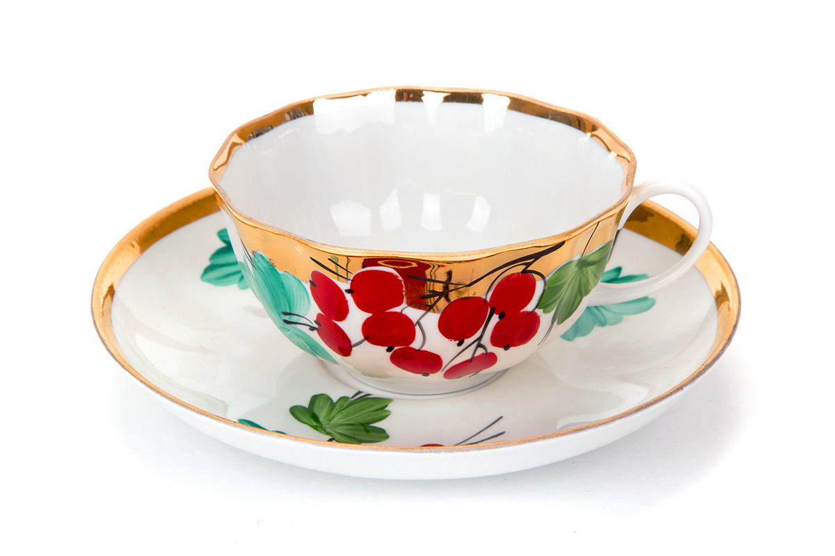 Фото Чашка чайная с блюдцем 200 мл Тюльпан Калинка