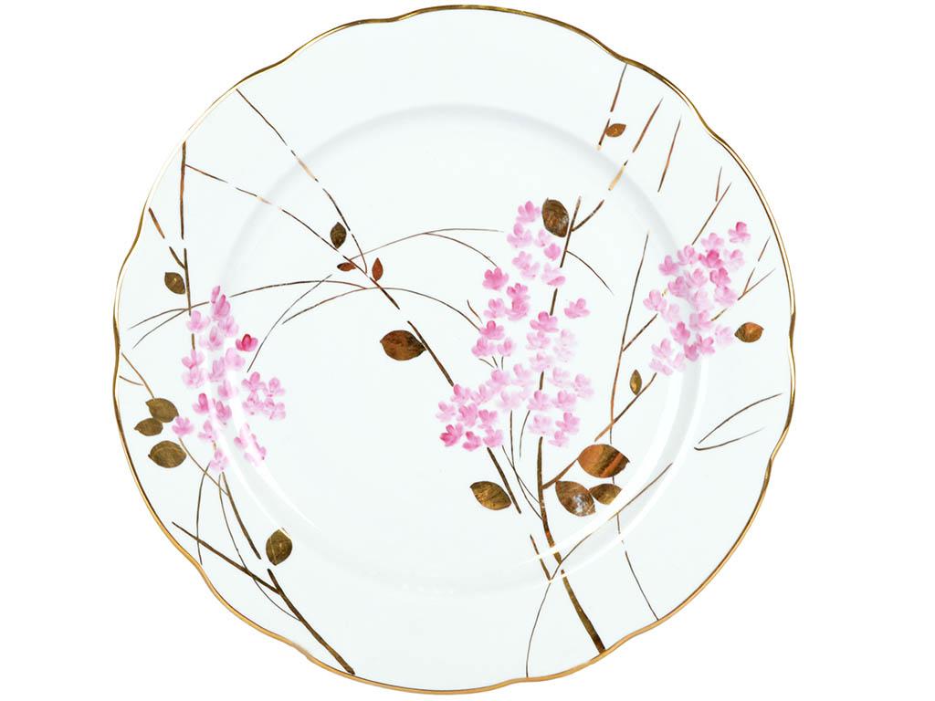 Фото Блюдо круглое 300 мм Вырезной край Розовая ветка