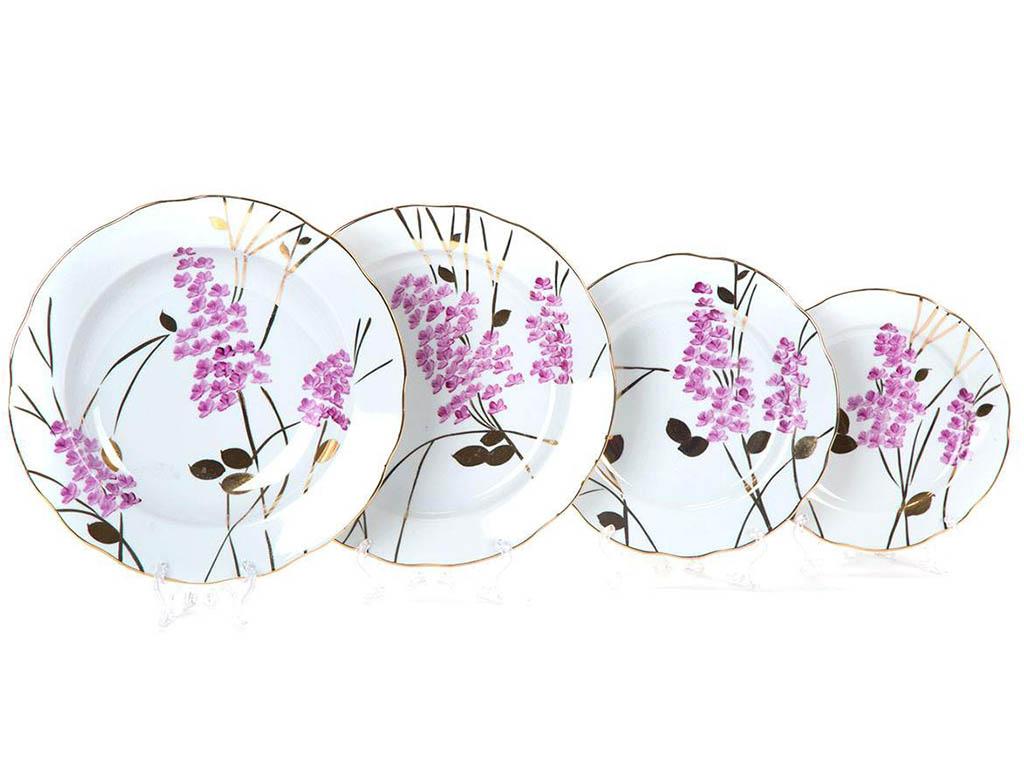 Фото Набор тарелок Вырезной край Розовая ветка, 24 предмета на 6 персон