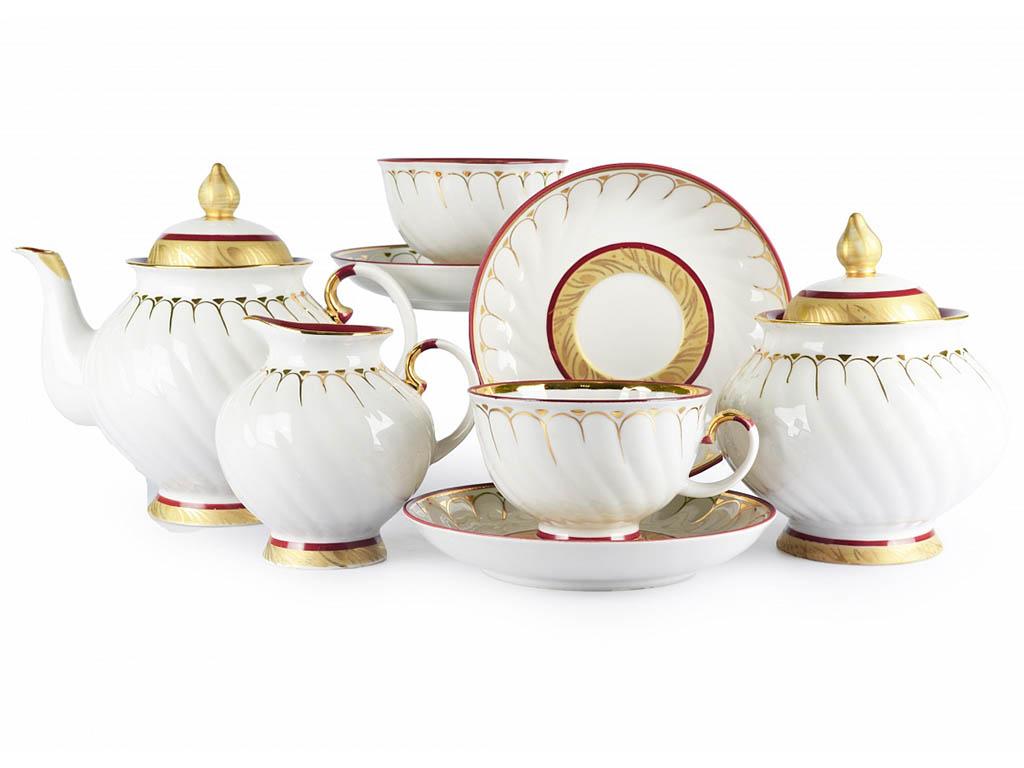 Фото Сервиз чайный Дулево Голубая роза Золотое кольцо, 15 предметов