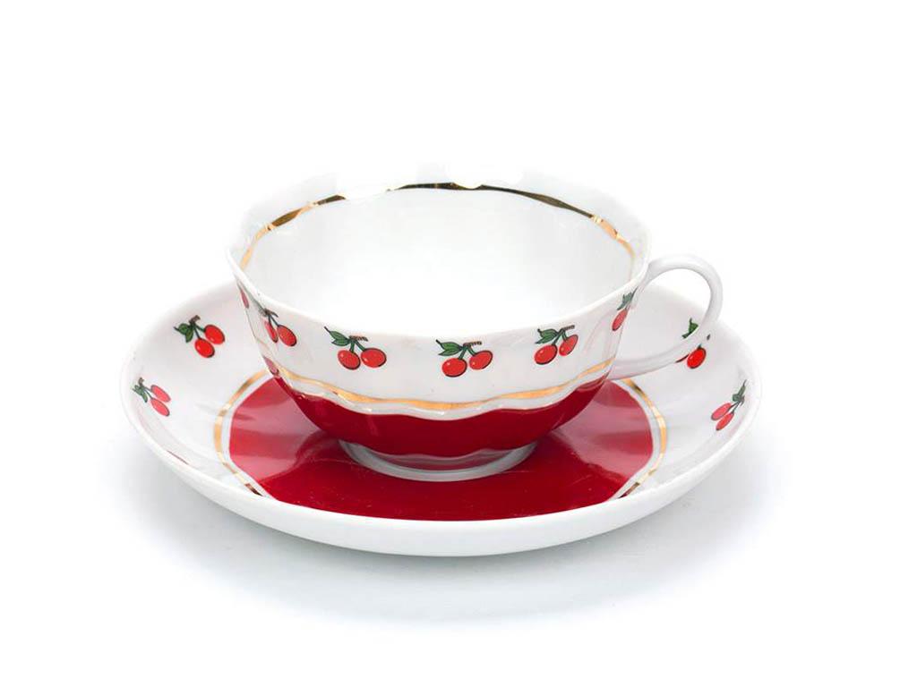 Фото Чашка чайная с блюдцем 200 мл Тюльпан Брусничка