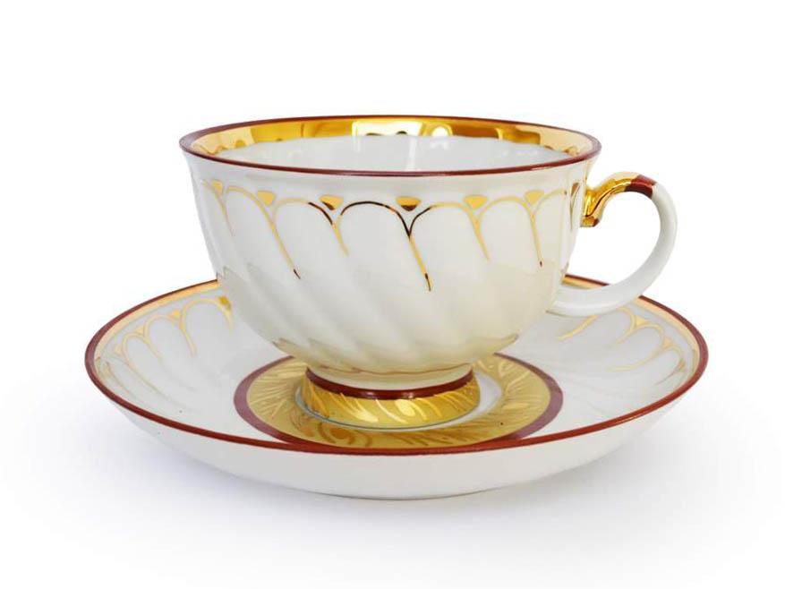 Фото Чашка чайная с блюдцем 350 мл Голубая роза Золотое кольцо