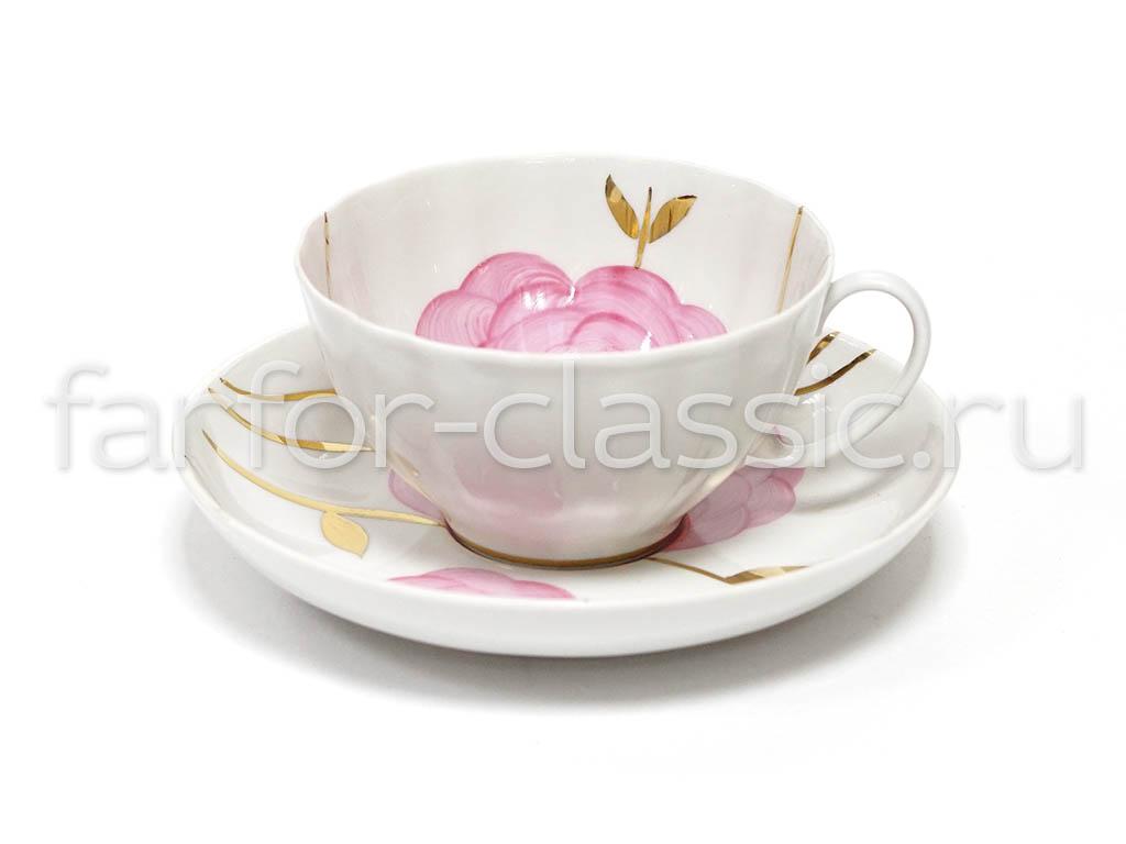 Фото Набор чайных пар Дулево Белый лебедь Весенний 6 шт