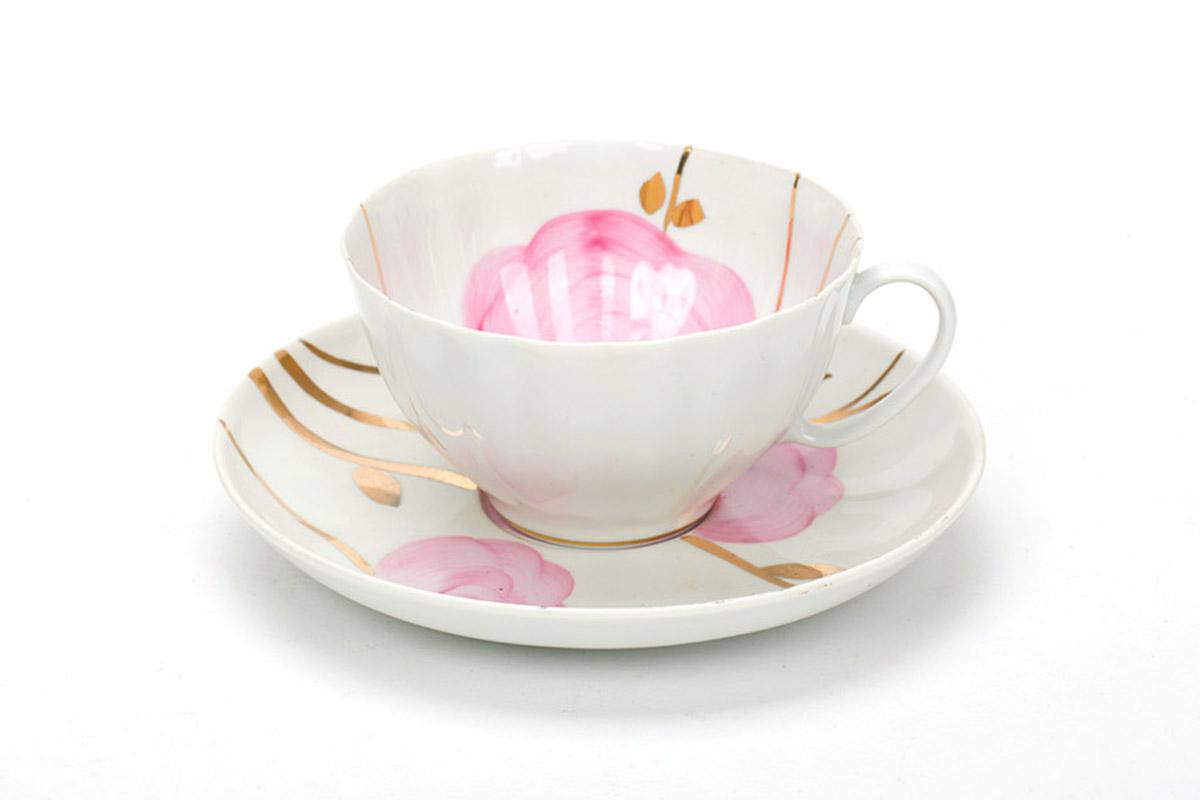 Фото Чашка чайная с блюдцем 230 мл Белый лебедь Весенний