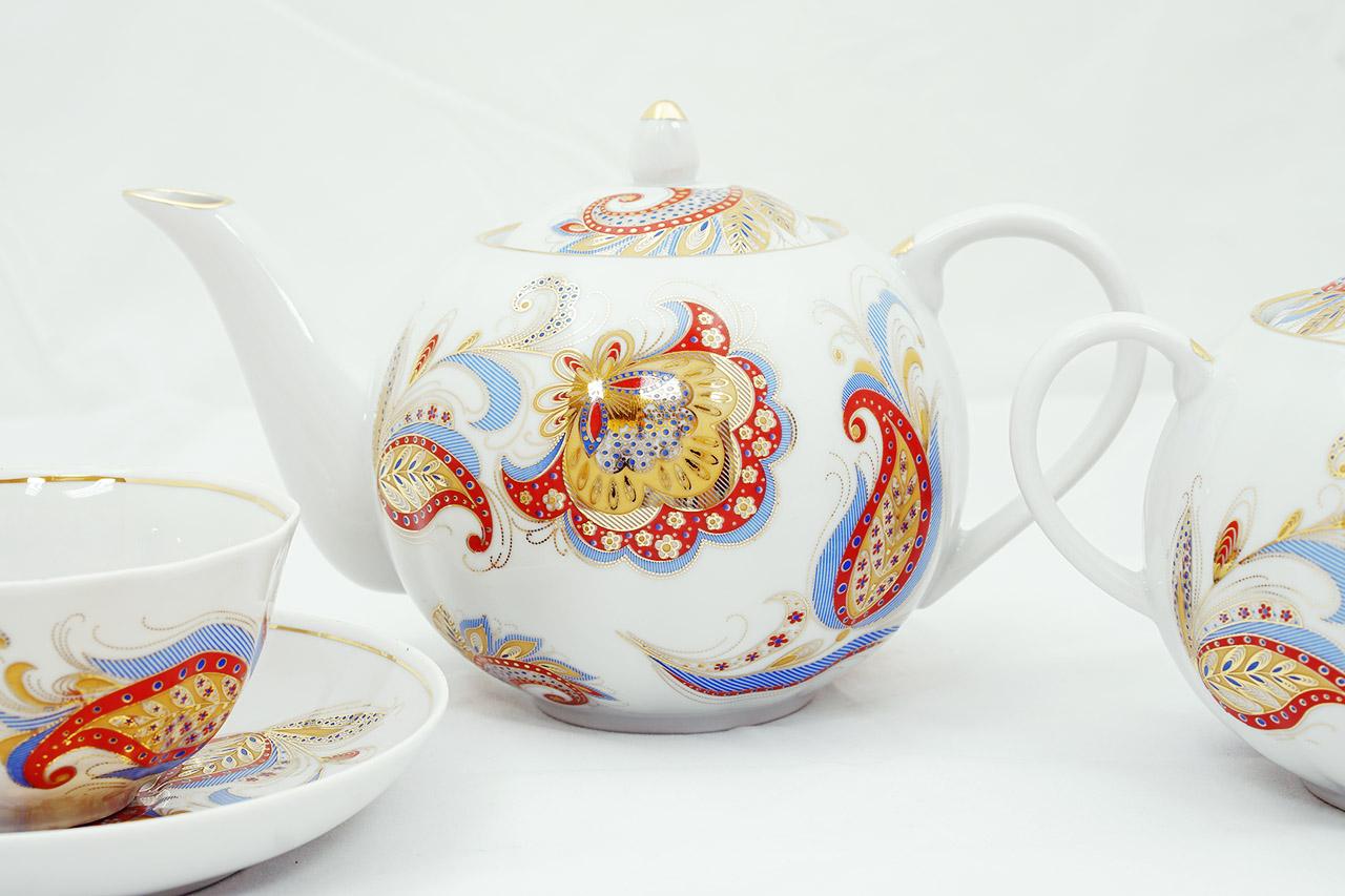 Фото Сервиз чайный Дулево Тюльпан Перо Жар-птицы, 15 предметов