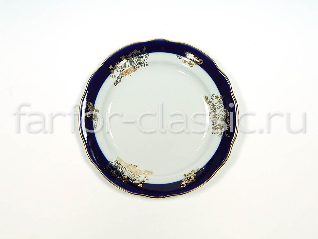Фото Тарелка мелкая 175 мм Вырезной край Ягоды, синий кобальт