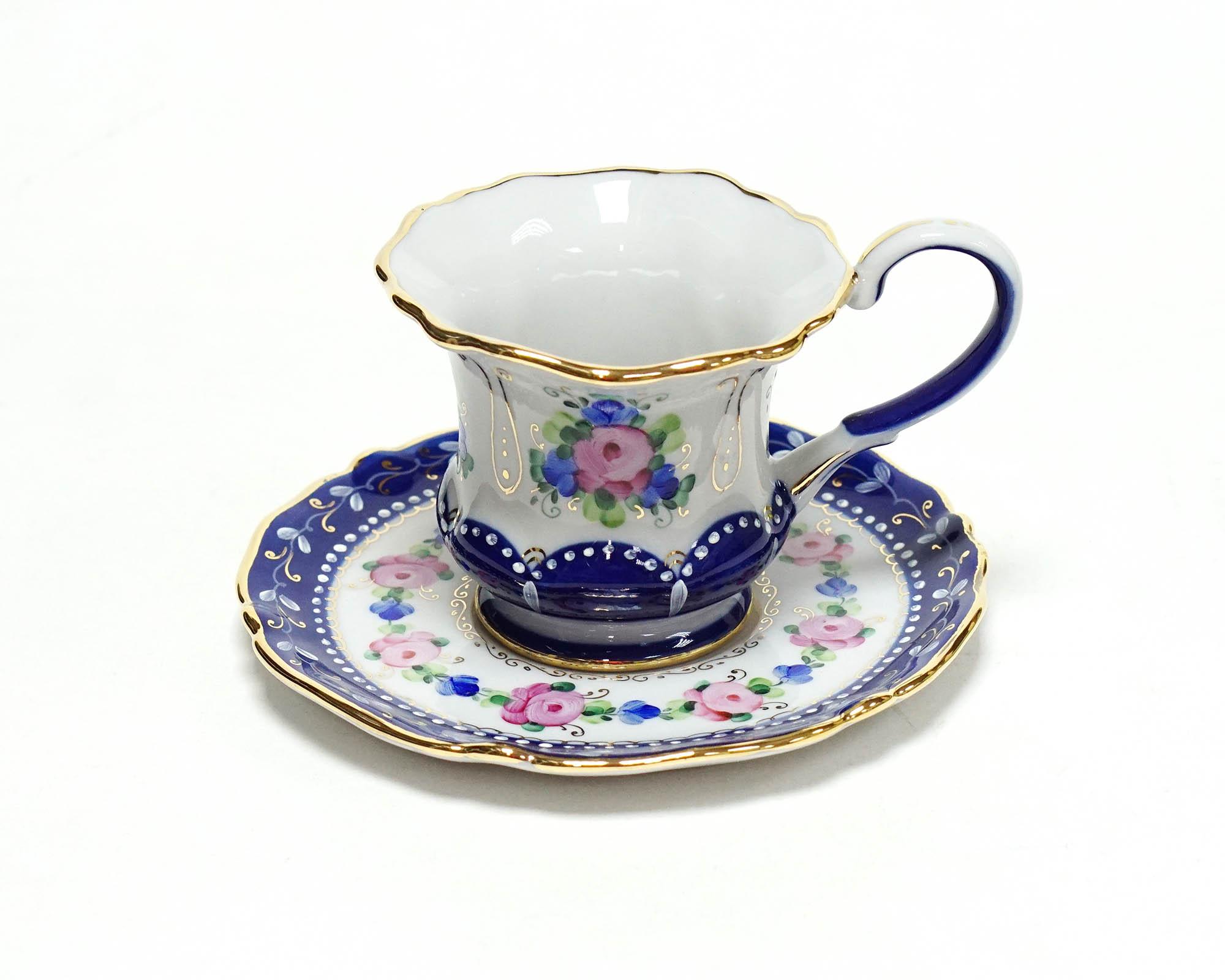 Фото Чашка кофейная с блюдцем 50 мл Гжель Уют Художественная роспись