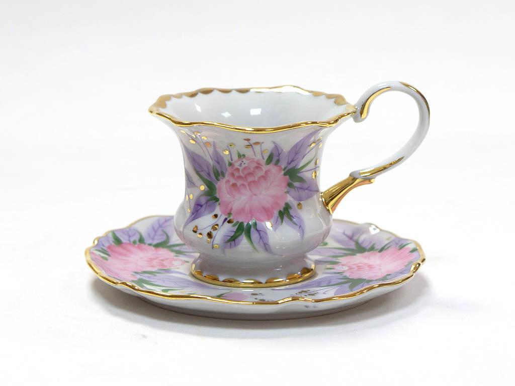 Фото Чашка кофейная с блюдцем 50 мл Гжель Уют Пионы Художественная роспись