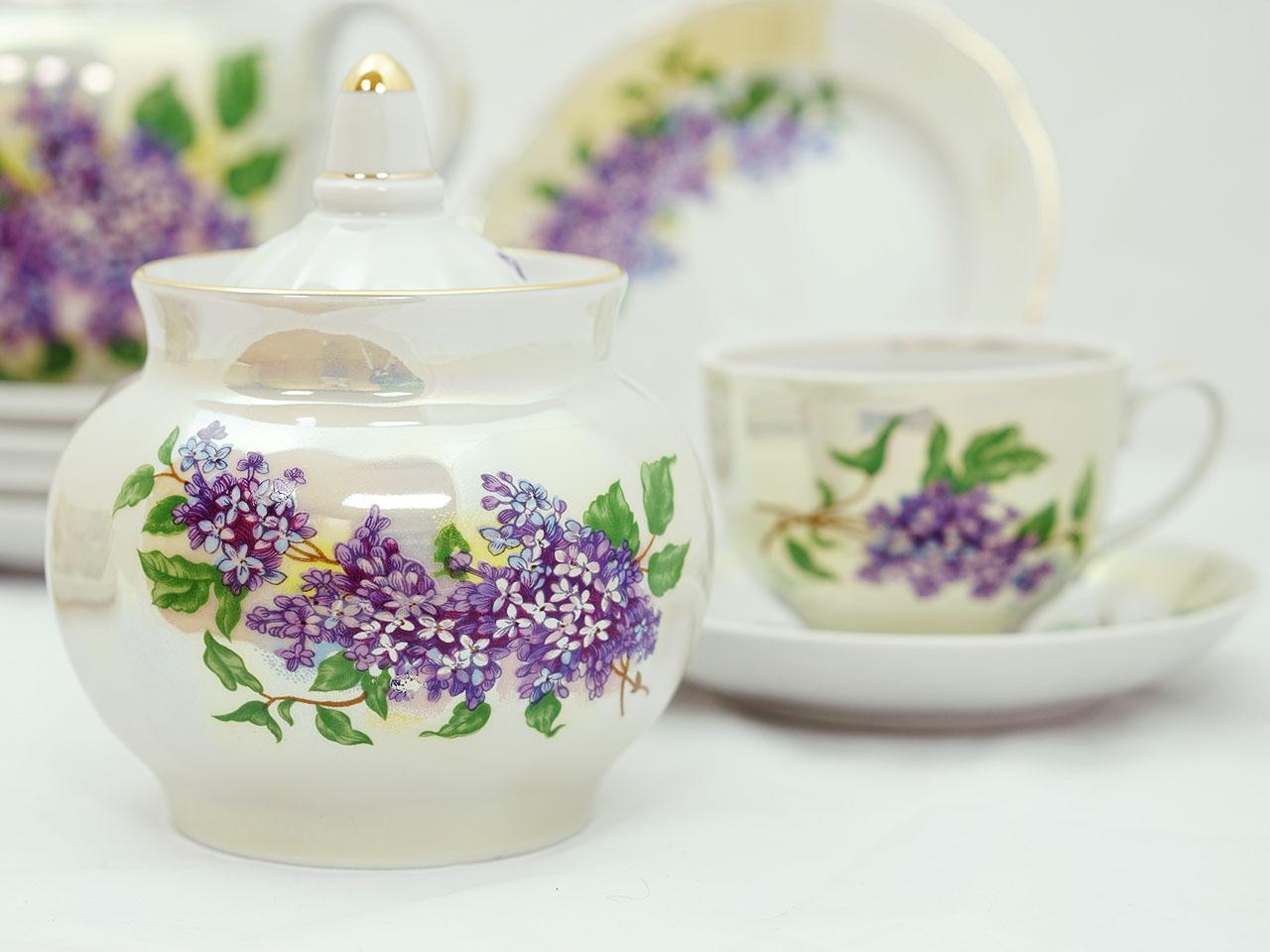 Фото Сервиз чайный Дулево Гранатовый Сиреневый букет, 20 предметов