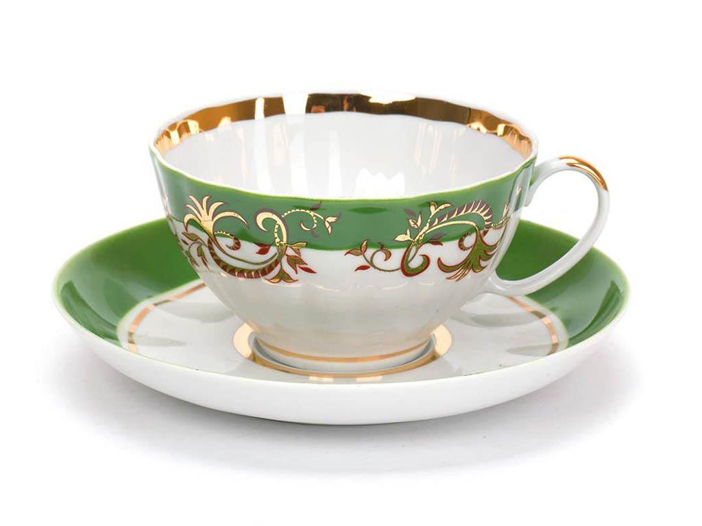 Фото Чашка чайная с блюдцем 230 мл Белый лебедь Кружево