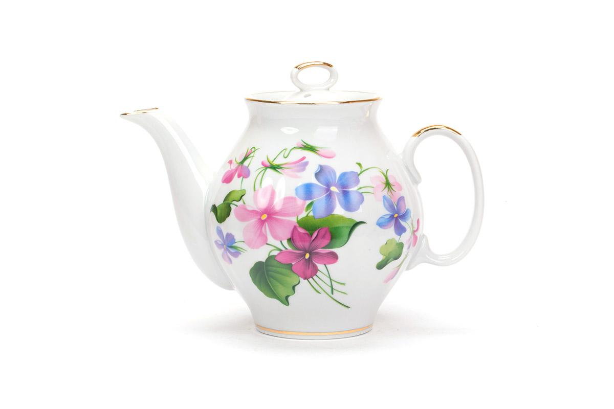 Фото Сервиз чайный Дулево Белый лебедь Фиалки, 15 предметов