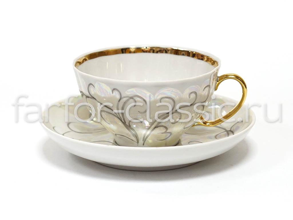 Фото Набор чайных пар Дулево Белый лебедь Морозко 6 шт