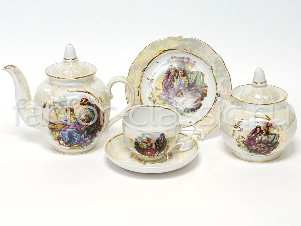 Фото Сервиз чайный Дулево Гранатовый Прогулка в усадьбе Перламутровый, 20 предметов