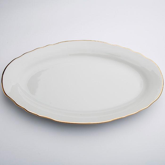 Фото Блюдо овальное 350 мм Вырезной край Отводка золотом
