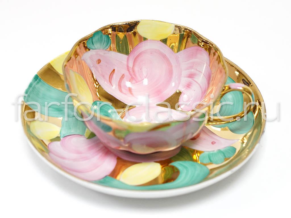 Фото Набор чайных пар Дулево Тюльпан Розовая птица 6 шт