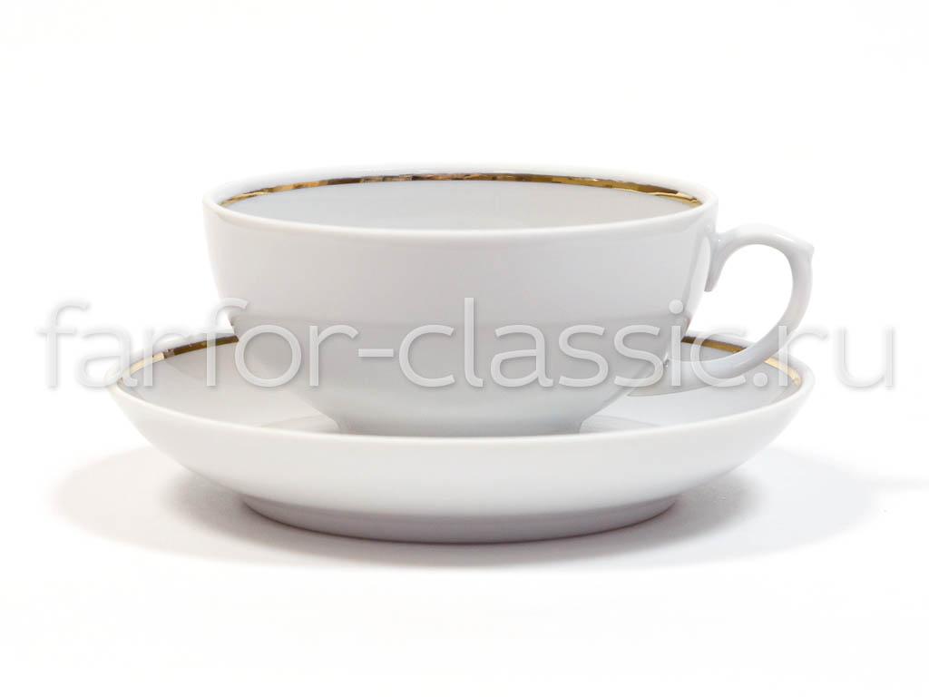 Фото Чашка чайная с блюдцем 220 мл Рубин Отводка золотом