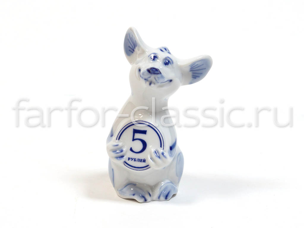 Фото Гжель фигурка Крысенок с монеткой 9 см синий