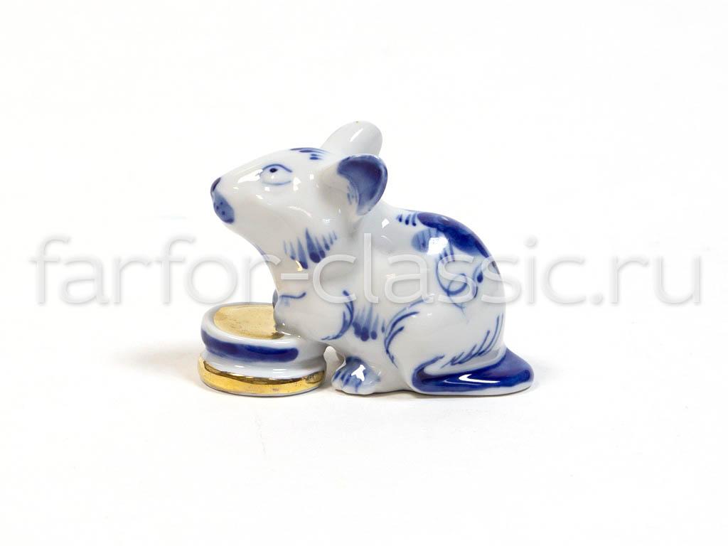 Фото Гжель фигурка Мышка с монетками