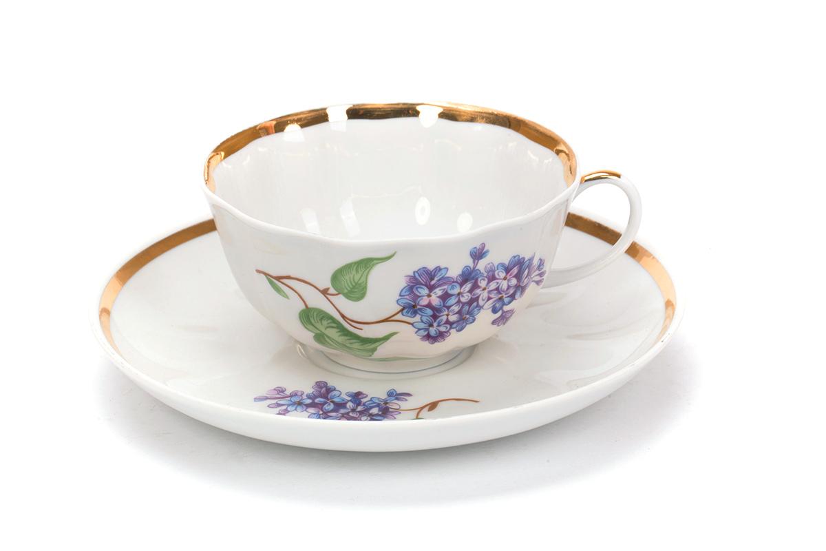 Фото Чашка чайная с блюдцем 200 мл Тюльпан Сирень