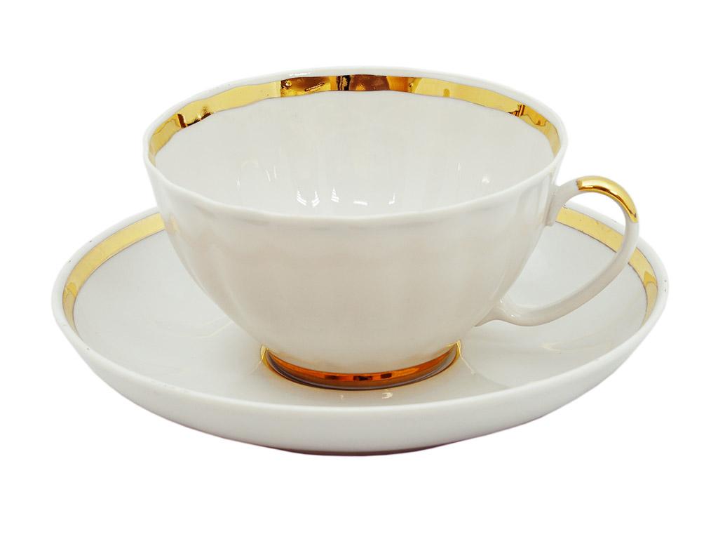 Фото Чашка чайная с блюдцем 230 мл Белый лебедь Московский с лентой