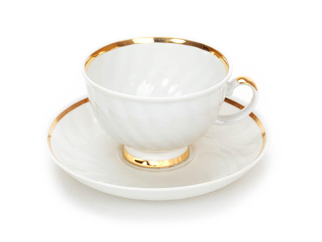 Фото Чашка чайная с блюдцем 320 мл Голубая роза Московский с лентой