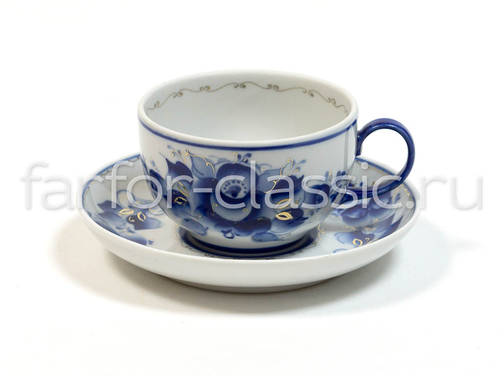 Фото Чашка чайная с блюдцем Гжель 190 мл Янтарь Роза Золото
