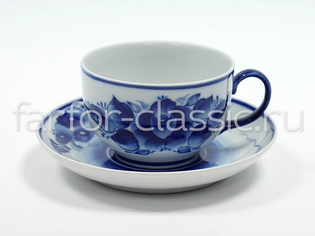 Фото Сервиз чайный Гжель, форма Янтарь, рисунок Роза, 14 предметов на 6 персон