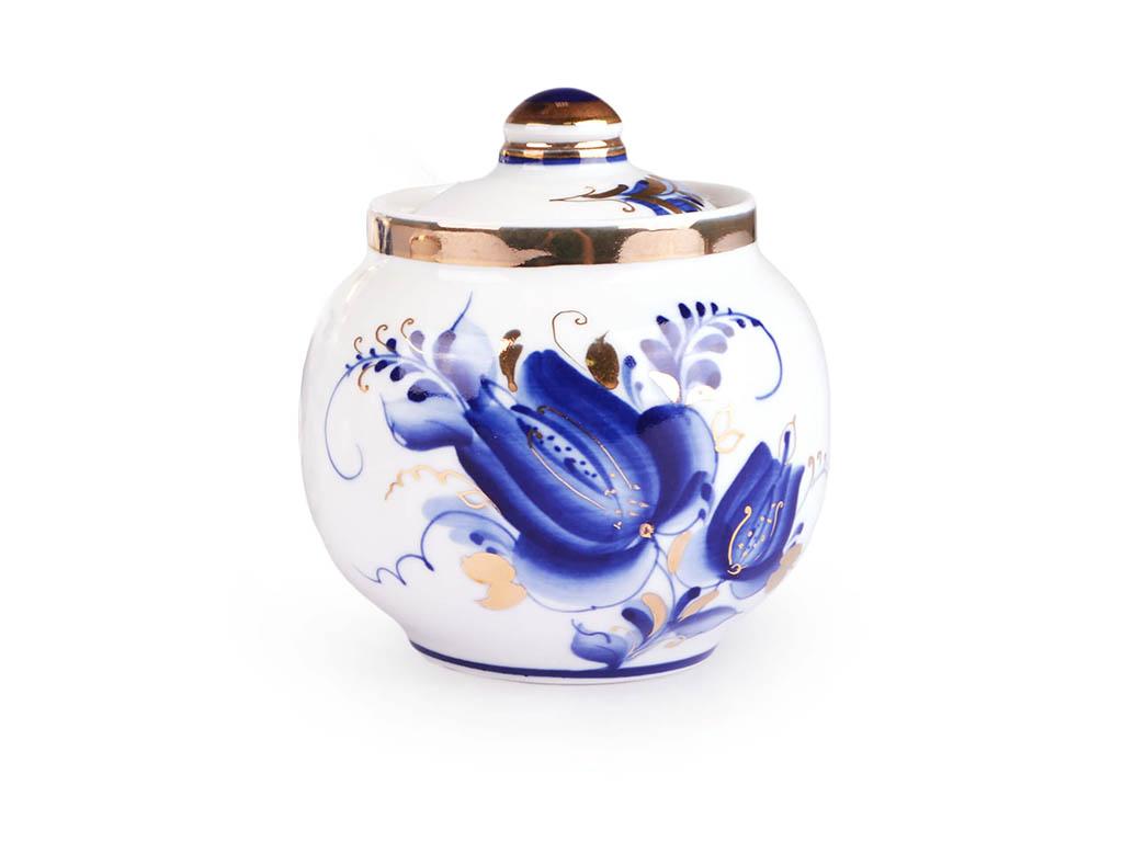 Фото Сервиз чайный Гжель, форма Янтарь, рисунок Тюльпан Золото, 14 предметов на 6 персон
