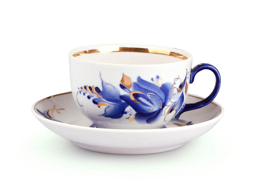 Фото Чашка чайная с блюдцем Гжель 190 мл Янтарь Тюльпан Золото