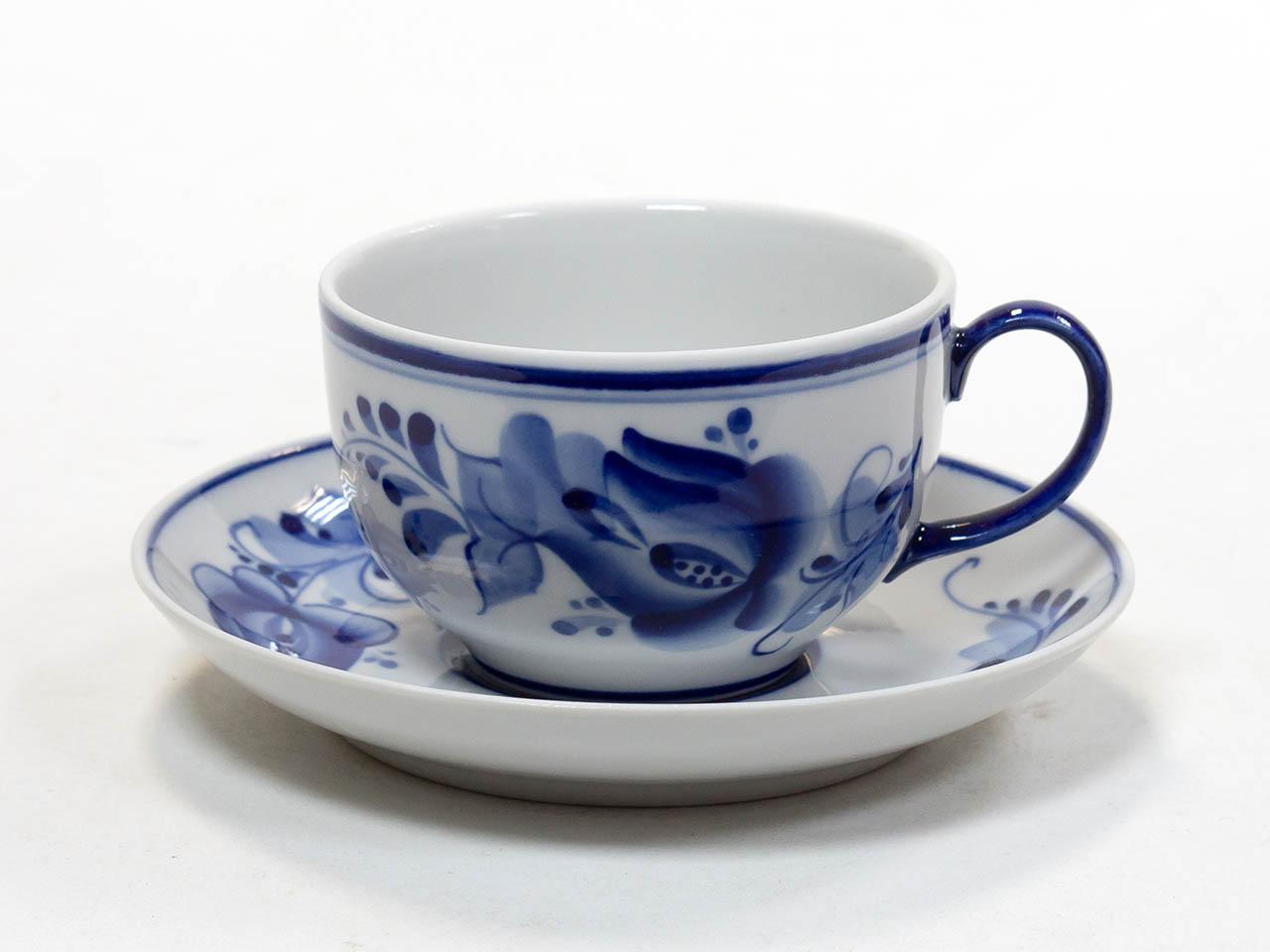 Фото Чашка чайная с блюдцем Гжель 190 мл Янтарь Тюльпан