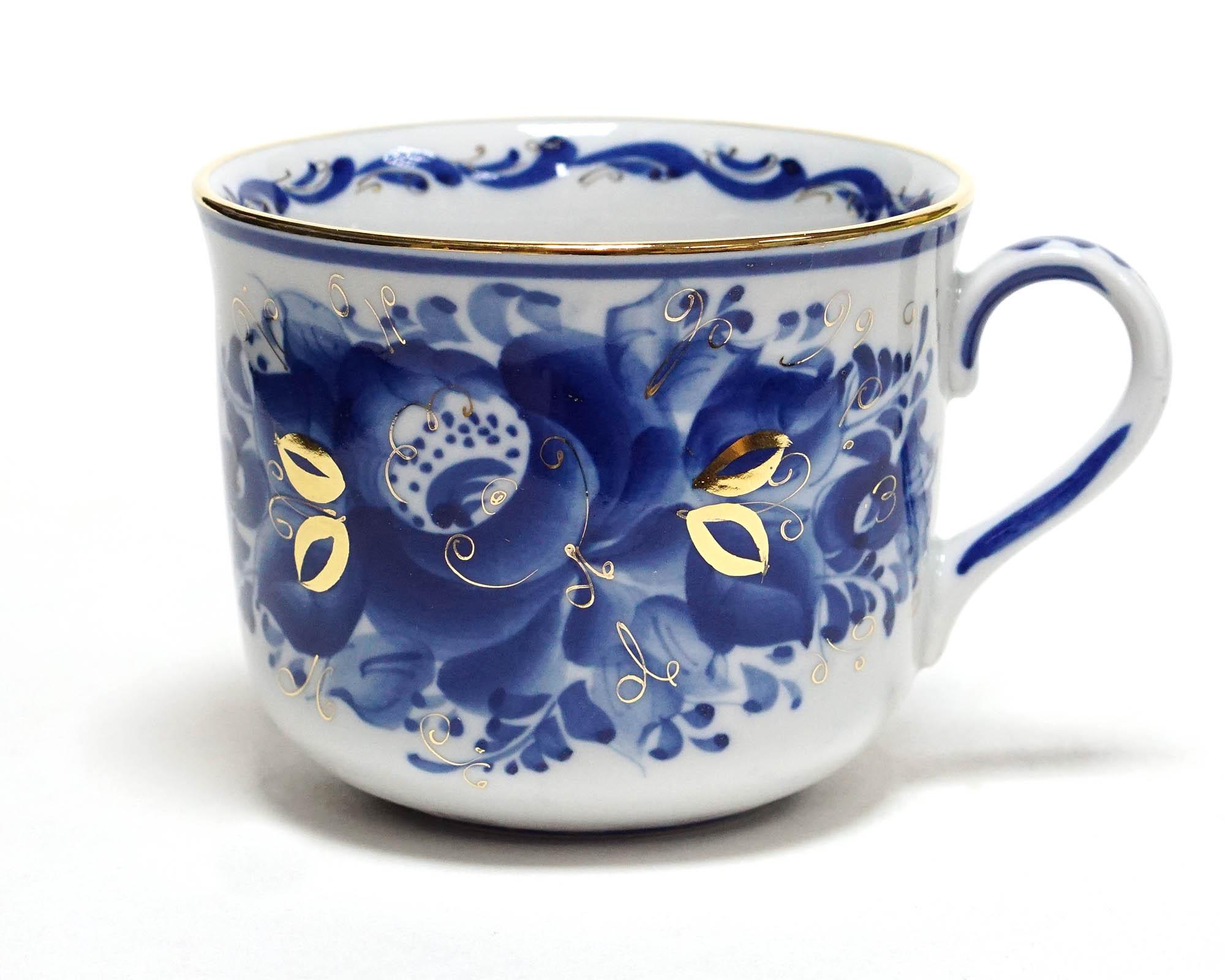 Фото Чашка Гжель чайная 450 мл Ностальгия Цветы Золото
