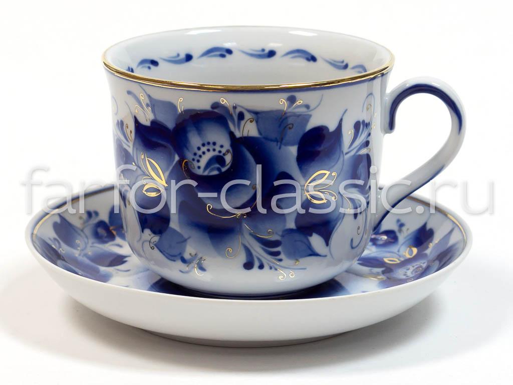 Фото Чашка чайная с блюдцем Гжель 450 мл Ностальгия Цветы Золото