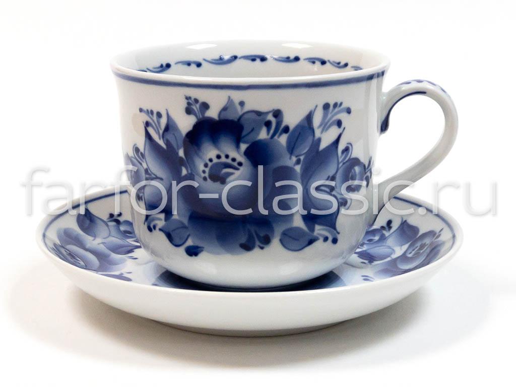 Фото Чашка чайная с блюдцем Гжель 450 мл Ностальгия Цветы